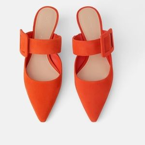 ZARA Orange leather heeled mules. Buckle Detail.